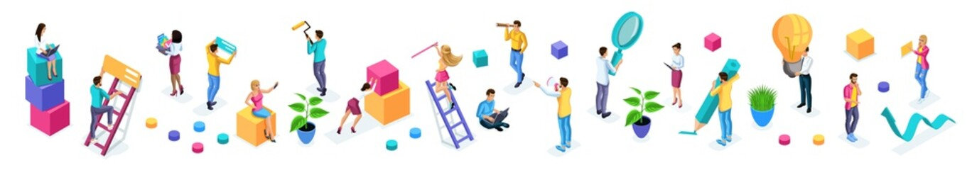 Isometrics set of vibrant business people with icons, young entrepreneurs, quality vector people on isolated background. Vector illustration