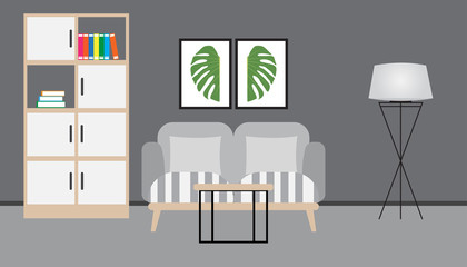 Flat design of living room interior with sofa, pillows, book, picture flame and carpet, vector illustration