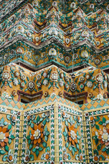 Colorful plastering work of temple wall