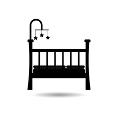 Black Baby Crib icon, Wooden Crib icon or logo
