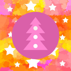 Christmas background with xmas tree and bright stars