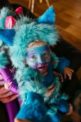 Portrait of Toddler Boy in Blue Cat Costume