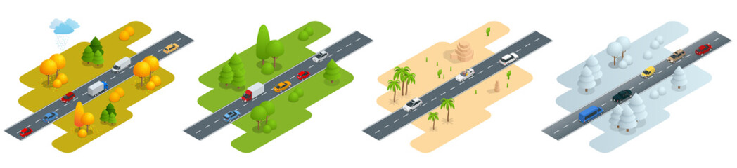 Four isometric pictures Road with cars in autumn, summer, a road in the desert and road in winter.