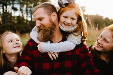 Bearded Dad with Daughters