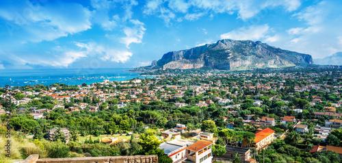 Wall mural View of the gulf of Mondello and Monte Pellegrino, Palermo, Sicily island, Italy