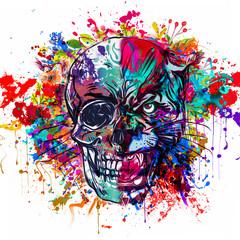 Яркий абстрактный красочный фон и тигровая голова с половиной черепа, красками