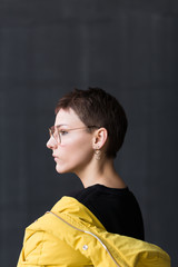 portrait of lesbian woman with short hair