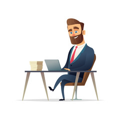 Bearded cheerful businessman sits and works at his workplace. Manager working on a laptop