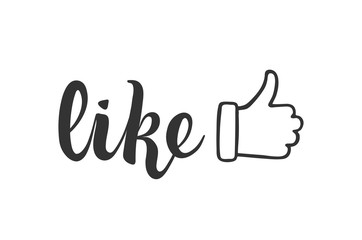like lettering for social media and blogging. thumbs up. SMM and networking. finger