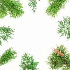 Christmas frame made of winter tree branches on white background. Festive background. Flat lay, top view