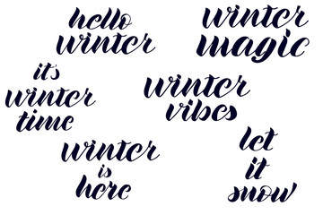 Quotes about winter. Winter lettering.