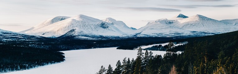 Panorama Shot of Snow-Covered Peaks in Rondane National Park (No