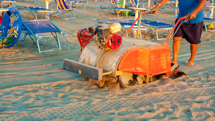 filtering machine for cleaning sand on the beach