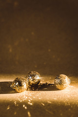 Small golden christmas balls
