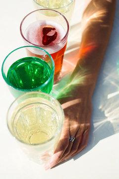 Colourful lemonade drinks