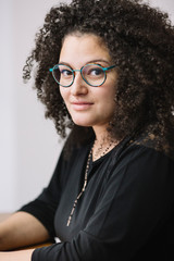 portrait of a young mixed woman.