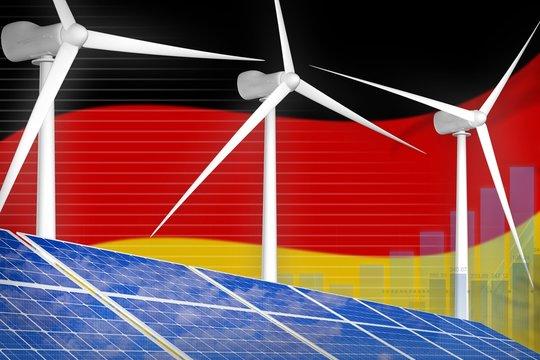 Germany solar and wind energy digital graph concept - modern natural energy industrial illustration. 3D Illustration