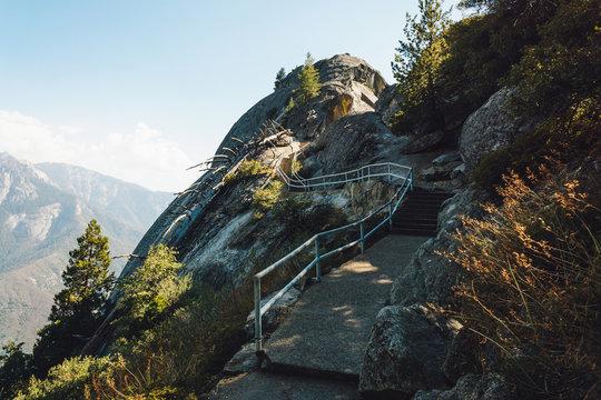 Moro Rock in Sequoia National Park, scenic hiking trail, California, USA