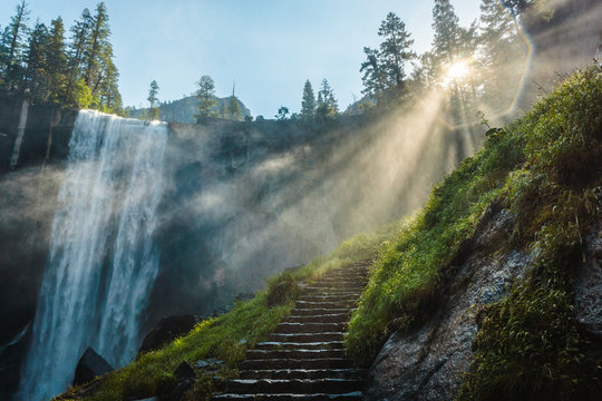 Vernal Falls in Yosemite National Park, hiking trail, California, USA