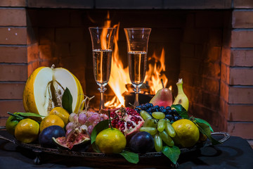 still life with champagne on fire background