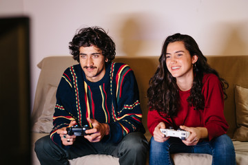Cheerful man and woman playing