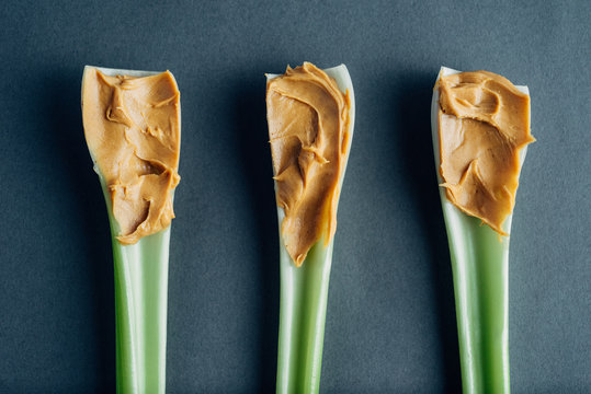 Celery stalks with peanut butter