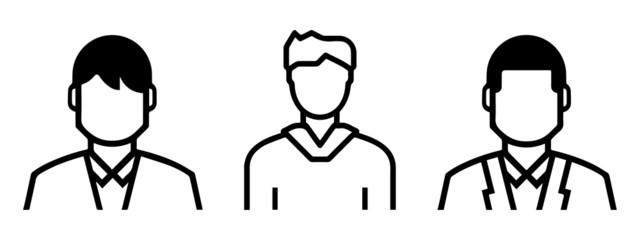 Set of outlined male avatars including: formal and informal shapes. line art