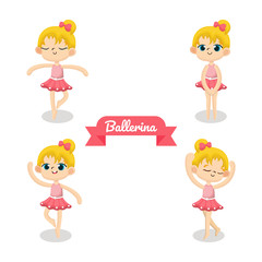 Illustration set of Cute Ballerina Character with different pose