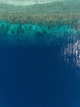 Blue deep ocean water from above