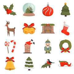 Christmas and New Year color vector icons set. Flat design