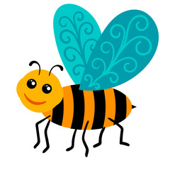 Happy cartoon bee isolated on white background. Vector illustration.