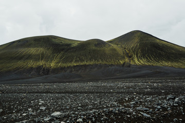 Moss covered mountain in Landmannalaugar, Iceland