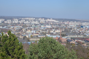 Cityscape of Lviv, Ukraine. Top view from Lysa (Lion) hill. Spring panorama