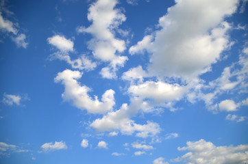 Blue sky with white clouds. Sky texture/ background. Nature patern