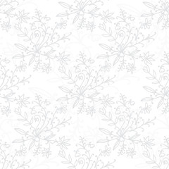 Floral damask seamless pattern with branches and flowers. Vector illustration.