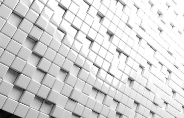 Abstract geometric shape of white cubes 3d render