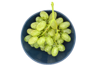 Bunch of green grapes in a plate isolated on white background Fototapete