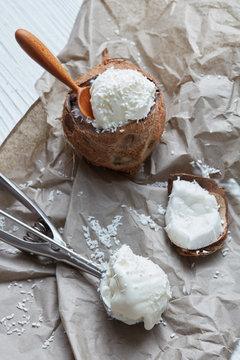 Vanilla coconut ice cream in shell of coconut