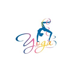 "The logo for a company that teaches yoga, the silhouette of a girl standing in a pose with a curved back and curly inscription of the word ""yoga"""