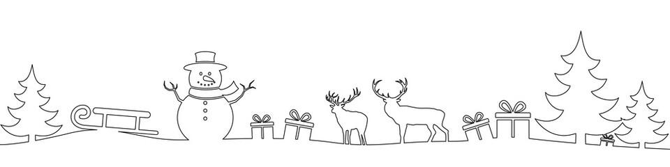 Christmas landscape line