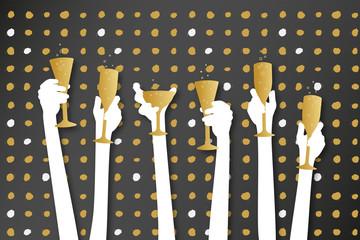 Silvesterfeier - Hände mit Sektgläsern
