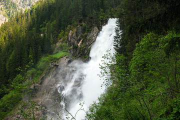 View Alpine inspiring Krimml waterfall in mountains