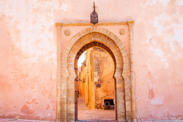 Foto op Plexiglas Marokko The Kasbah of the Udayas entrance gate in Rabat in Morocco. The Kasbah of the Udayas is located at the Bou Regreg river in Rabat, Morocco. Rabat is the capital of Morocco.