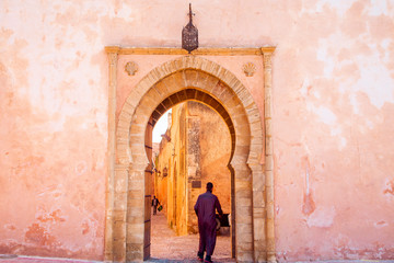 Canvas Prints Morocco The Kasbah of the Udayas entrance gate in Rabat in Morocco. The Kasbah of the Udayas is located at the Bou Regreg river in Rabat, Morocco. Rabat is the capital of Morocco.