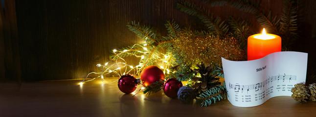 Weihnachten, Stille Nacht, Weihnachtslied, Noten, Kerze, Banner, Panorama, Header, Headline,...