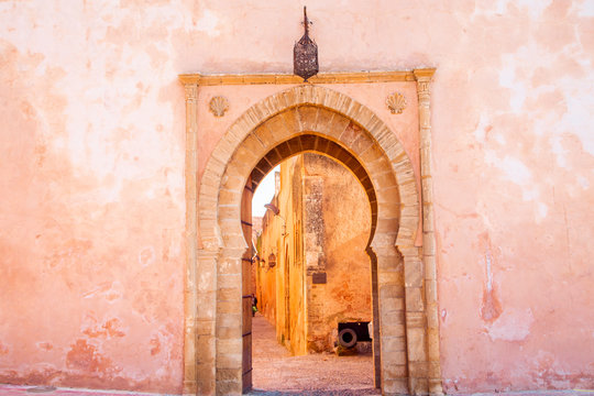 The Kasbah of the Udayas entrance gate in Rabat in Morocco. The Kasbah of the Udayas is located at the Bou Regreg river in Rabat, Morocco. Rabat is the capital of Morocco.