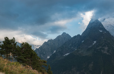Closeup mountains and forest scenes in national park Caucasus, Russia