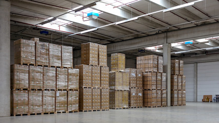 Stack of cartons at logistics warehouse
