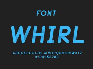 Whirl italic font. Vector alphabet