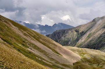 Closeup mountains scenes in national park Dombai, Caucasus, Russia